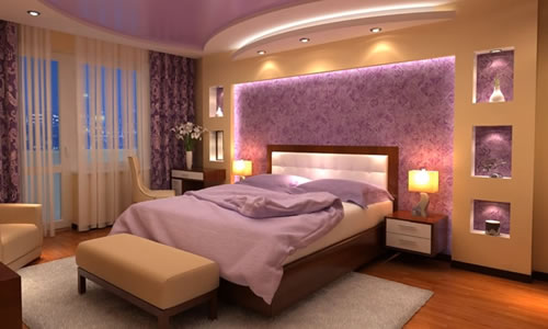 purple drywall bedroom